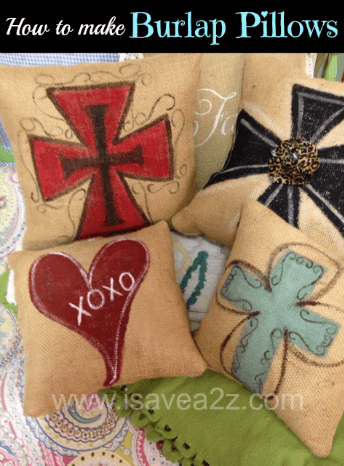 how to make burlap pillows