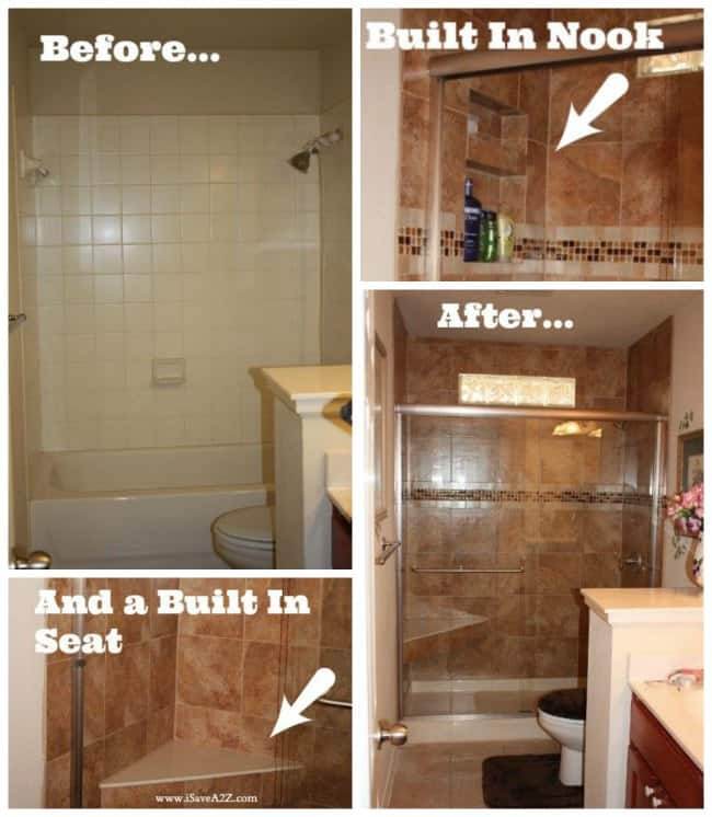 Before And After Bathroom Makeovers On A Budget: Bathroom Remodel Tub To Shower Project