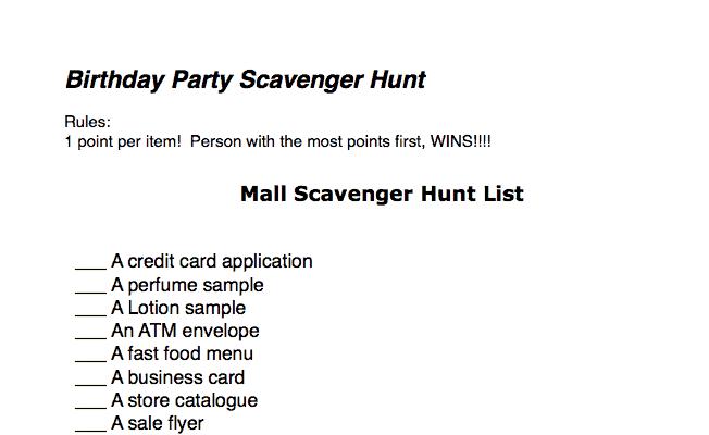 Teen Birthday Party Idea: Mall Scavenger Hunt (Printable ...