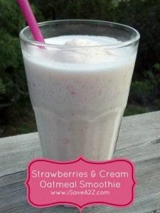 Strawberries & Cream Oatmeal Smoothie Recipe!
