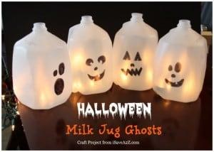 Easy Halloween Craft Ideas:  Milk Jug Ghosts
