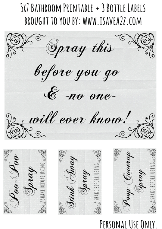 Poo Poo Spray Printable Labels