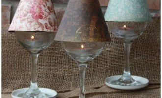 Wine Glass Lamp Shade DIY Project (Free template included)
