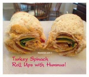 Easy Ice Chest Recipes: Turkey Spinach Roll Ups with Hummus