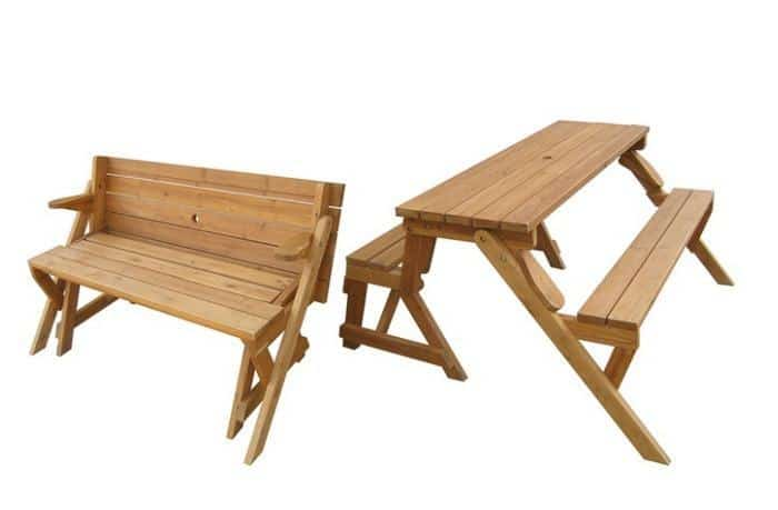 Picnic table to bench on groupon for Flip top picnic table plans