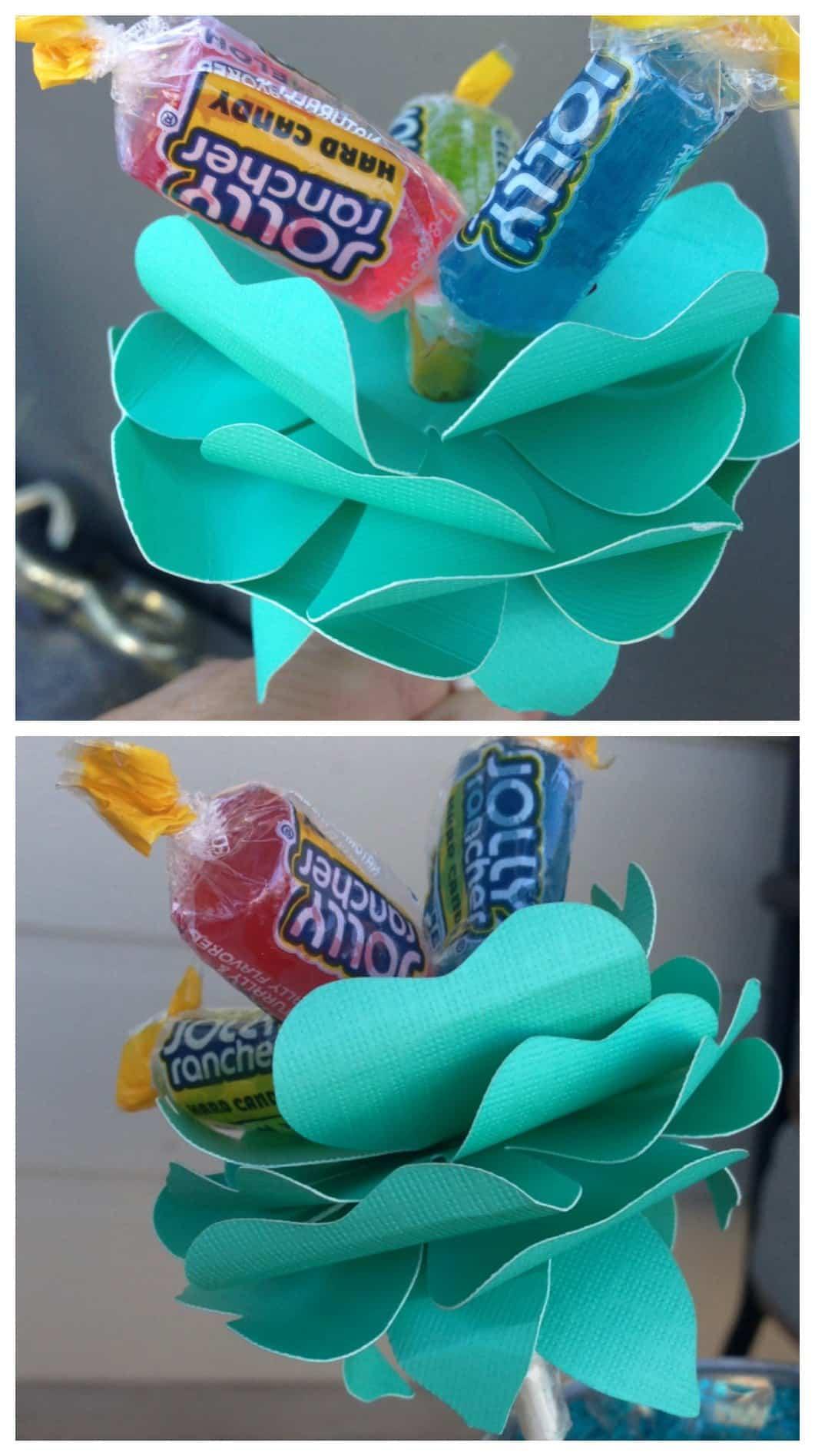 Easy Silhouette Project Idea: Paper Candy Flower Lollipop