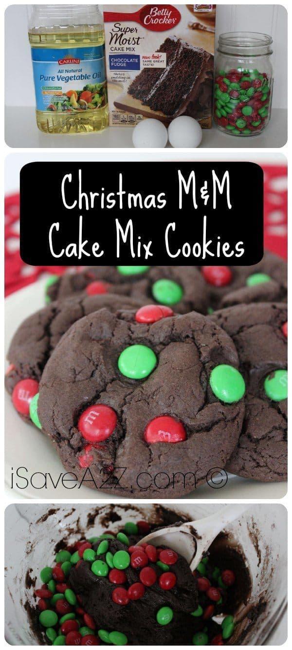 Christmas M&M Cake Mix Cookies - iSaveA2Z.com