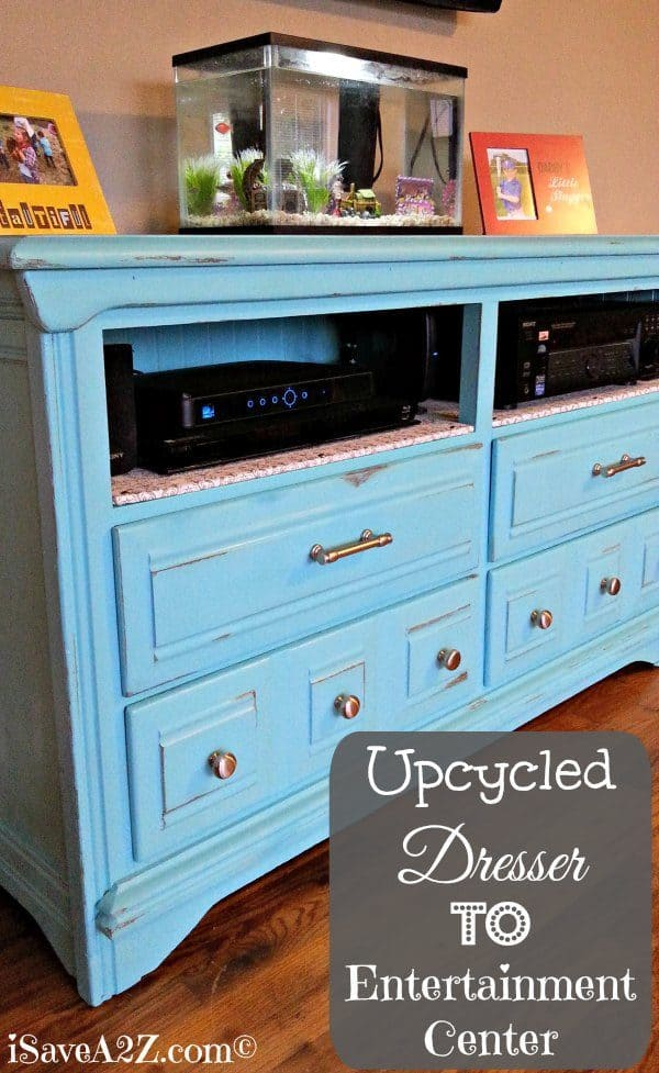 Upcycled dresser to entertainment center for Upcycled entertainment center