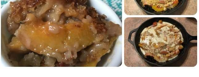 Easy Peach Cobbler Recipe made in a Cast Iron Skillet