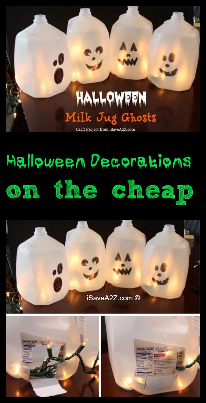 Halloween Decorations on the cheap - Milk Jug Ghosts