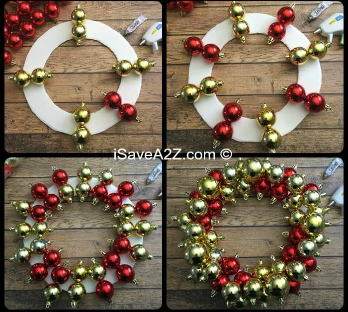 how to make an ornament wreath. Black Bedroom Furniture Sets. Home Design Ideas
