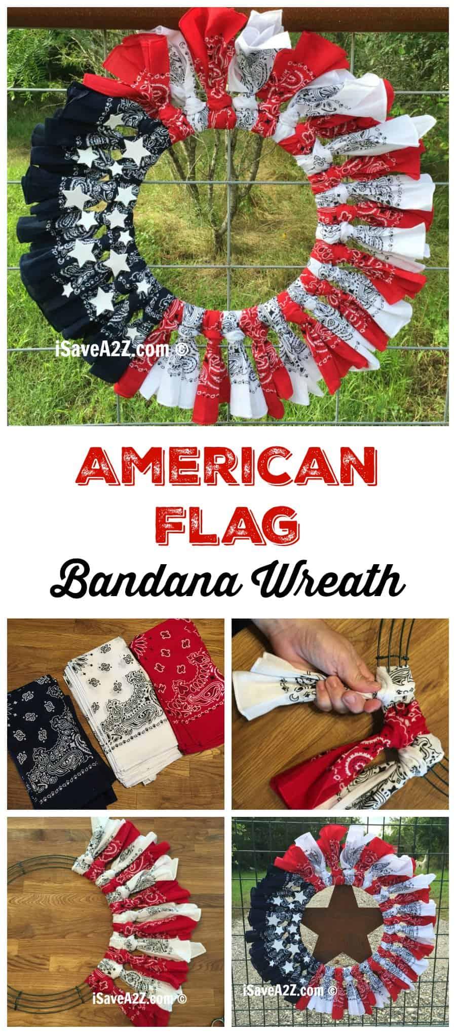 Red, White and Blue Bandana Flag Wreath Craft IdeaiSaveA2Z.com