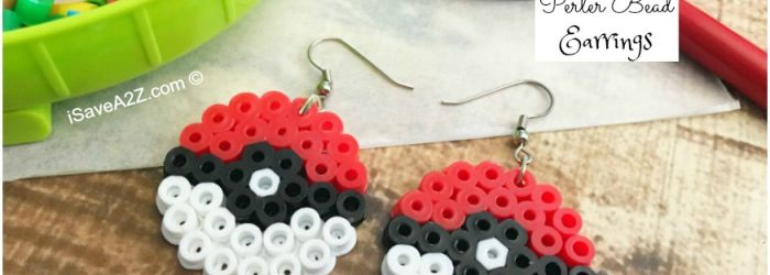 Pokemon Earrings Made Out of Perler Beads