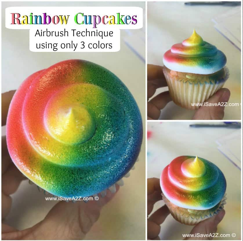 Airbrush Cupcakes Rainbow Design using only 3 colors