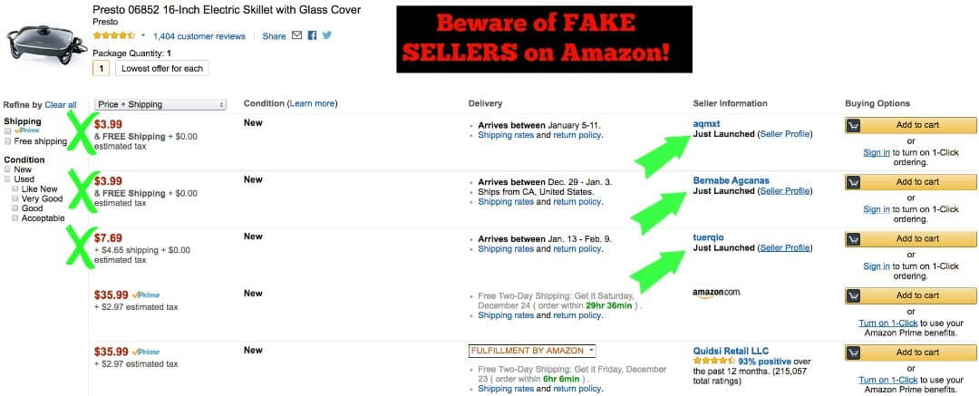 Beware of Fake Sellers and the latest Amazon scam